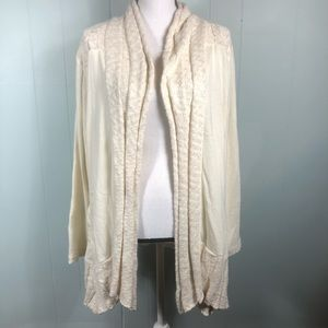 Lucky Lotus by Lucky Brand Ivory Knit Cardigan